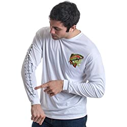 Fishing Ruler | Long Sleeve Wicking Fisherman Shirt w/Ruler on Forearm Unisex T-Shirt-(Adult,XL) White