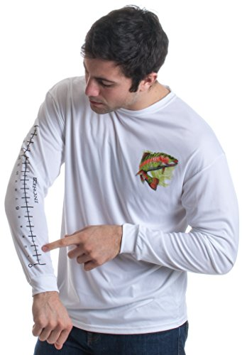 (Fishing Ruler | Long Sleeve Wicking Fisherman Shirt w/Ruler on Forearm Unisex T-Shirt-(Adult,M) White)
