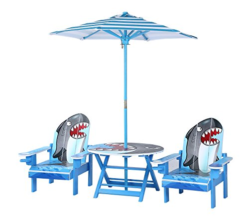 (O'Kids Shark Table and Adirondack Chair Set with Umbrella )