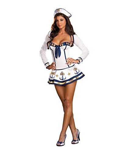 Sexy Sailors Costumes (Dreamgirl Women's Makin' Waves Costume,White,Medium)