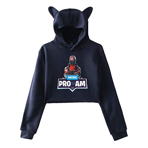 Cute Blue5 Casual Sweatshirts Fortnite cappuccio Allentato Stampate sportive Aivosen con Donne Breve Popolare Felpe Top ZURnnx