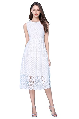 Lace Cocktail Fit L0201 Womens Fashion Flare Sleeveless Dress VEIISAR White Party Elegant qOt0wpx