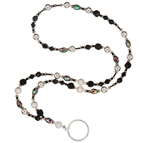 beaded-lanyard-elegant-black-iridescent-faceted-glass-bead-silver-frosted-beads