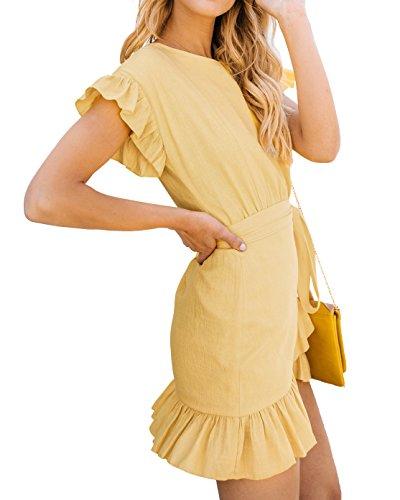 Party Sleeve Short Belts Mini Dresses Yellow Waist Womens Dress Casual Empire Youxiua Wrap Ruffle AxSfqqa0