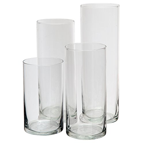 Glass Cylinder Vases SET OF 4 Decorative Centerpieces For Home or Wedding by Royal Imports (Candle Pillar Green Ginger)
