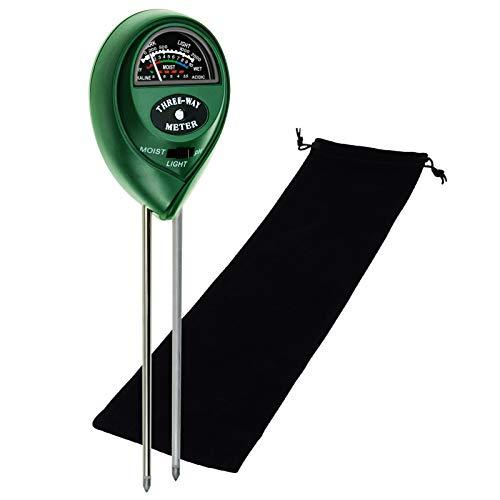 Soil pH, Moisture Tester Probe Sensor, Gardening Plants Growth Watering Quality Monitoring Acidity Test Tool Kits for Garden Indoor Outdoor (pH/Moisture/Light Range (Black Bag))