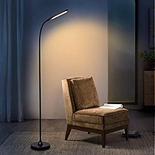 Touch & Remote Floor Lamps, Dimmable LED Reading Lamp High Brightness 600LM for Bedroom Office, Matte Black Floor LED Light Standing Tall Lamp with Gooseneck Adjustable Arm, 5 Color Change for Eyecare