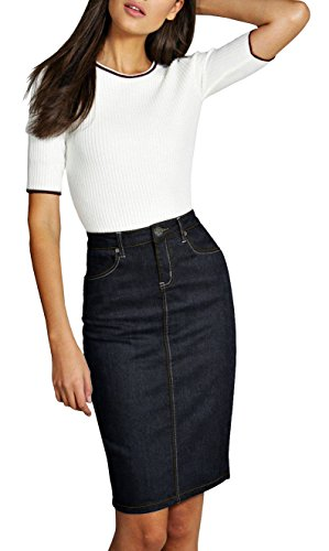 Length Jeans Stretch - Lexi Womens Pull on Stretch Denim Skirt SKS22885 Blue Black 10