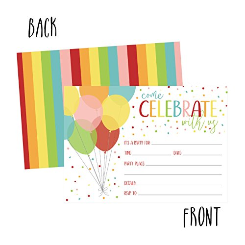 25 rainbow balloon party invitations for kids teens adults boys