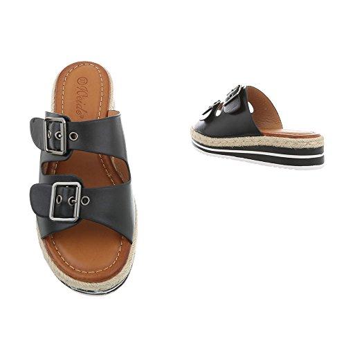 Ital-Design Women's Sandals Flat Mules at Black YBQ160 qJcYd