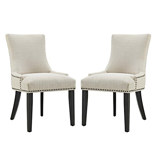 Modway Marquis Modern Elegant Upholstered Fabric Parsons Two Dining Side Chair Set With Nailhead Trim And Wood Legs In Beige (Chairs Dining Asian)