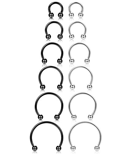 - ORAZIO 12Pcs 14-16G Stainless Steel Nose Rings Septum Piercing Cartilage Horseshoe Earring Body Piercing 6MM-16MM Black And Silver Tone
