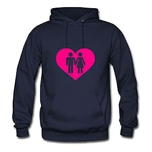 Long-sleeve Popular Heart Couple Cotton Hoodies X-large Women Navy