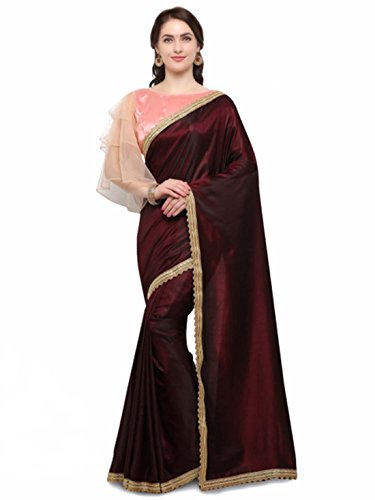 - Colors Burgundy Solid Poly Silk Saree