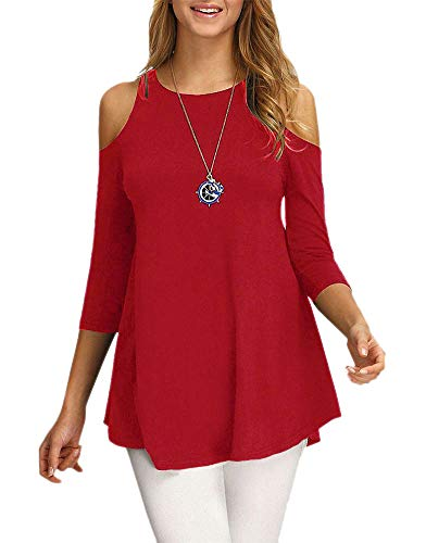 Sinono Women's Cold Shoulder Tops 3/4 Sleeve Shirt Casual Tunic Blouse Top 1