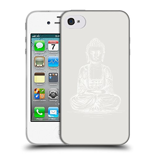 GoGoMobile Coque de Protection TPU Silicone Case pour // Q10010631 Bouddha assis 12 Platine // Apple iPhone 4 4S 4G