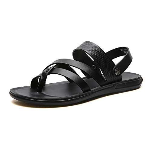 Hilotu Summer Sandals for Men Fashion Ringtone Slipper Slip On Style Microfiber Leather Simple Solid Colors Dual Purposes Shoes (Color : Black, Size :
