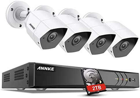 ANNKE 3MP Security Camera System, 8 Channel CCTV H.264 DVR Recorder with 2TB Hard Drive, 4 x 1920x1536p Weatherproof Indoor Outdoor Bullet Cameras, Email Alert, Remote Access