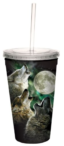 (Tree-Free Greetings 80006 Three Wolf Moon Collectible Art Double Wall Cool Cup with Straw, 16-Ounce, Multicolored)