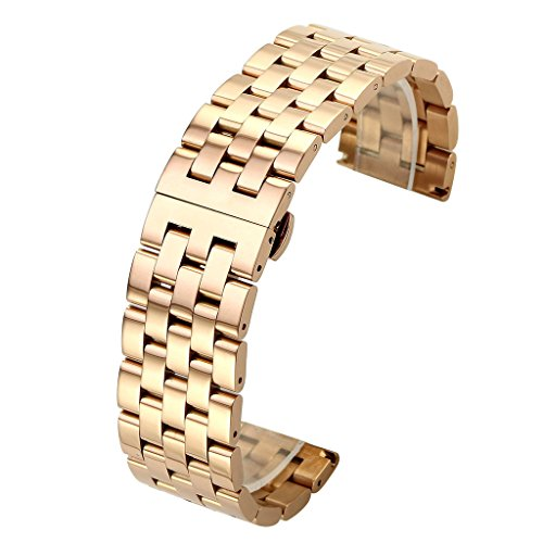 Solid Rose Gold Watch (Top Plaza 22MM Rose Gold Solid Stainless Steel Straight End Link Bracelet Wrist Watch Band Strap Replacement Double Push Spring Butterfly Deployment Clasp 5 Rows Metal Strap)