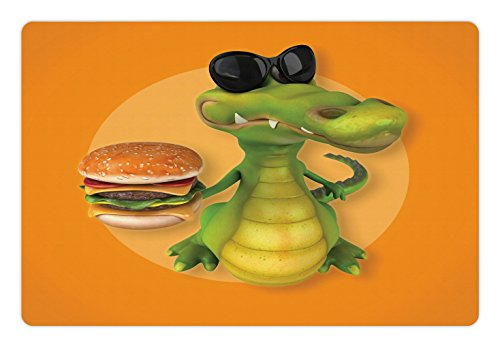 Lunarable Alligator Pet Mat for Food and Water, Glitzy Alligator with Sunglasses Holding a Double Cheese Burger Realistic Design, Rectangle Non-Slip Rubber Mat for Dogs and Cats, Multicolor
