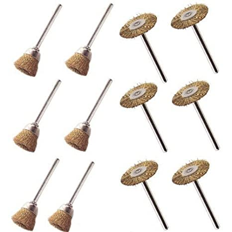 """12pc Wire Brush Cup Shape 1/"""" and 1//2/"""" Stainless Steel Drills Rust Scale"""