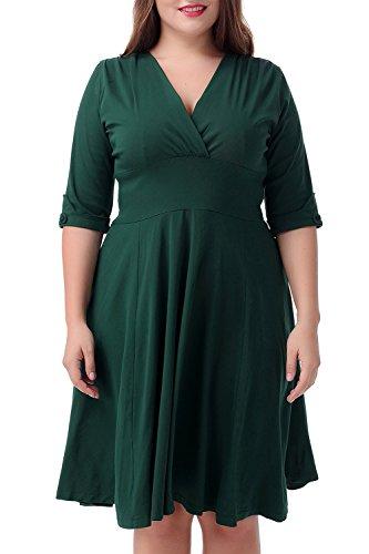 Nemidor Women's Vintage 1950s Style Sleeved Plus Size Swing Dress (22W, Green)