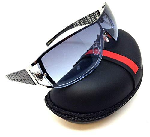 Kleo Lion Head Medallion Greek Key Wrap Around One Piece Sunglasses (Black & Silver Frame w/Case, Blue Gradient)