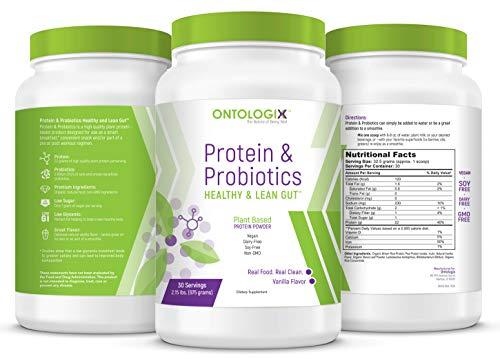 Ontologix Plant Based Protein Plus Probiotics for Lean Gut - Vanilla - Vegan, Dairy Free, Soy Free, Non-GMO, 2.15 lb, 30 Servings - Ground-Breaking Combination (Non Gmo Probiotic)