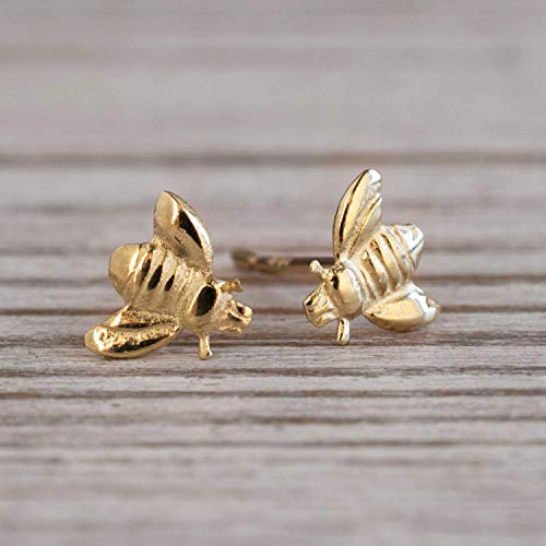 14K Gold Bee Stud Earrings, 14K Solid Yellow Gold Dainty Honey Bees Studs, Tiny Dainty Bumble-Bee Handmade Jewelry, Pushback Closure Earrings, Simple Minimalist Gift for Girls and Young Women ()
