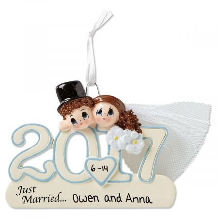 Personalized 2017 Wedding Resin Christmas Ornament