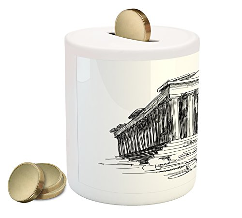 Antique Coin Box Bank By Ambesonne  Hand Drawn Greece Pantheon Sketch Antique Roman Historical Cultural Heritage Print  Printed Ceramic Coin Bank Money Box For Cash Saving  Black White