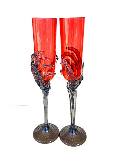 Halloween skeleton hand acrylic red champagne flute, wineglass goblet ()