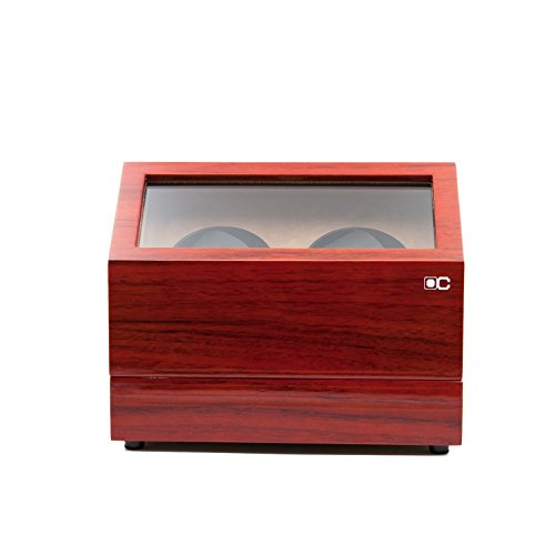KAIHE-BOX Classic Watch Winders for 2 Watches for automatic Watch Winder Rotator Case Cover Storage(2 color,ww-02132) , Red by KAIHE-BOX (Image #2)'