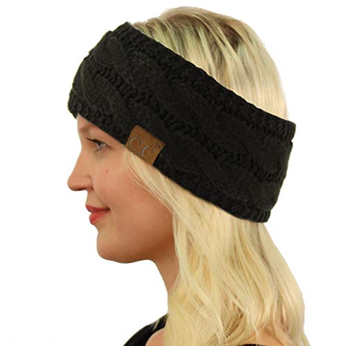 Winter Fuzzy Fleece Lined Thick Knitted Headband Headwrap Earwarmer Solid Black