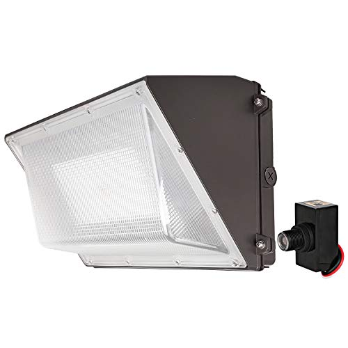 Hykolity 60W 7800lm LED Wall Pack with Photocell, 1-10V Dimmable Dusk to Dawn Outdoor LED Wall Pack Light Fixture, [250W MH/HPS Equivalent], 5000K DLC Complied