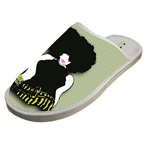Slippers with Sexy Afro Big Hair Woman Original Indoor Sandals Soft Shoes Flat Winter Sleeppers 9 by JLL-HITOLY