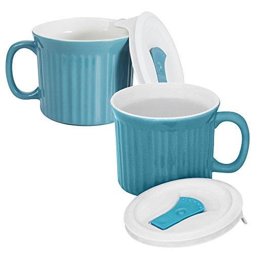 Corningware 20-Ounce Oven Safe Meal Mug with Vented Lid, Pool Blue, Pack of - Mug Corningware