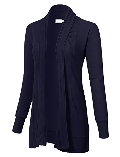 ARC Studio Women's Long Sleeve Open Front Draped Cardigans Pocket S Navy