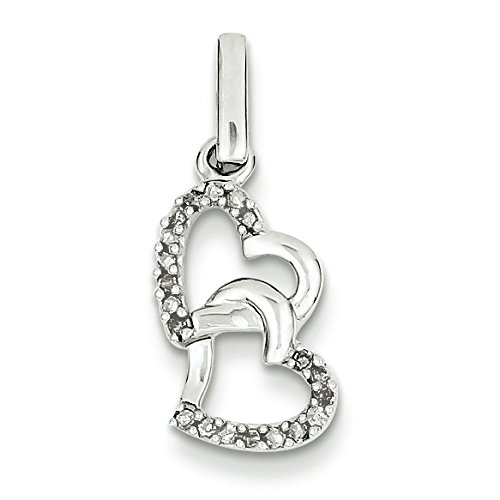 Argent Sterling de diamants bruts Entwining JewelryWeb-Pendentif Coeur