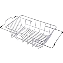 YOMYM Adjustable Over Sink Dish Drainer Dish Drying Rack Kitchen Storage Dish Holder Utensil Drainer Rack Stainless Steel 18/8