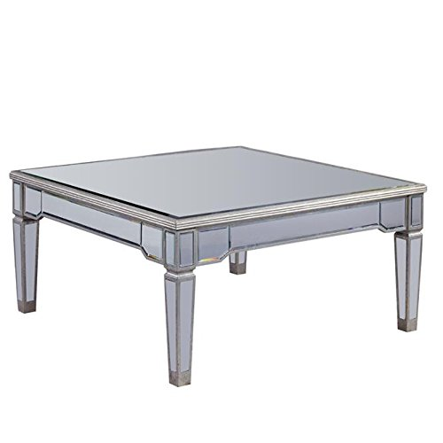 Elegant Lighting Florentine Silver With Clear Mirror Coffee Table