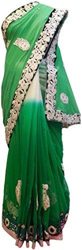 gner Georgette (Viscos) Net Hand Embroidery Saree Sari Free Size Green & White (Hand Embroidery Sarees)