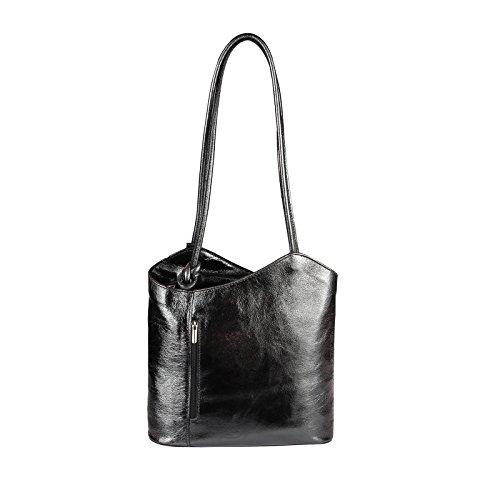 OBC MADE IN ITALY ledertasche-rucksack AVESTRUZ Repujado Bolso Mujer 2 en 1 BOLSA BOLSO de Hombro Bolso de hombro con asas Tableta/iPad aprox. 10-12 pulgadas 27x29x8 cm (BxHxT ) Schwarz (Metallic)