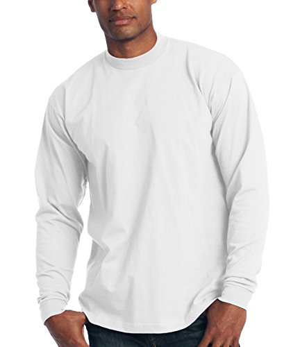 [Pro Club Men's Heavyweight Cotton Long Sleeve T-Shirt, White, Small] (Football Club Cotton)