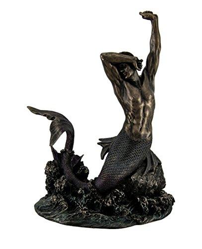 Merman Stretching on Rock Sculpture