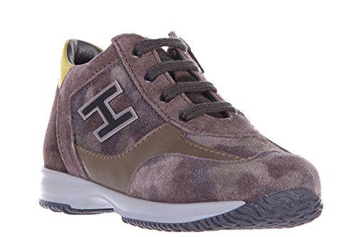 Hogan chaussures baskets sneakers enfant garçon en cuir neuves marron
