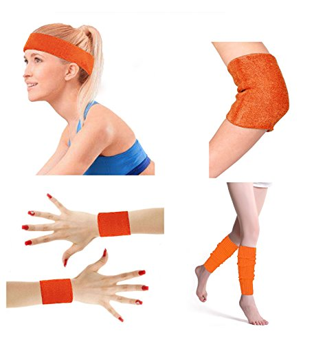 (80's Retro Running Jogging Sports Headband Wristbands Leg Warmers Elbow Guard Set For Women Girls,)