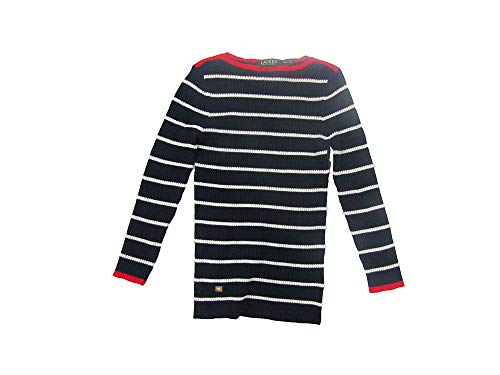 Lauren Ralph Lauren Women's Petite Petite Striped Boat Neck Sweater (Navy, Petite ()