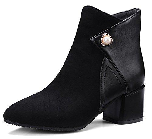 Idifu Kvinners Unik Spiss Tå Faux Suede Midten Blokk Hæl Kort Ankel Boots  Black